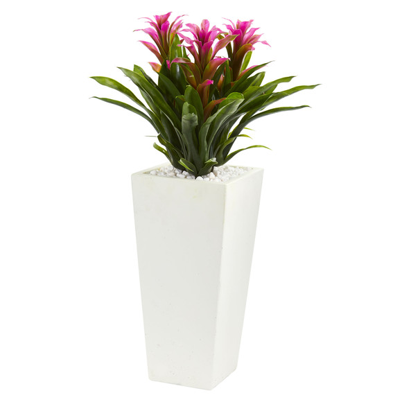 Triple Bromeliad Artificial Plant in White Tower Planter - SKU #6372 - 2