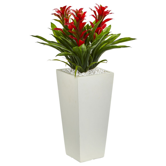 Triple Bromeliad Artificial Plant in White Tower Planter - SKU #6372