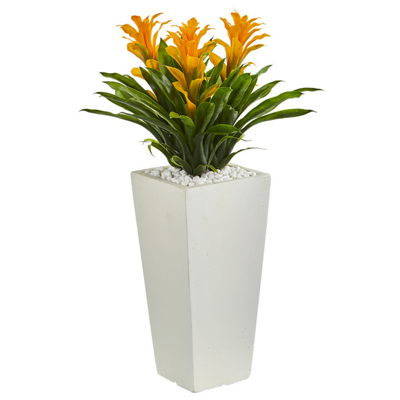 Triple Bromeliad Artificial Plant in White Tower Planter - SKU #6372 - 3