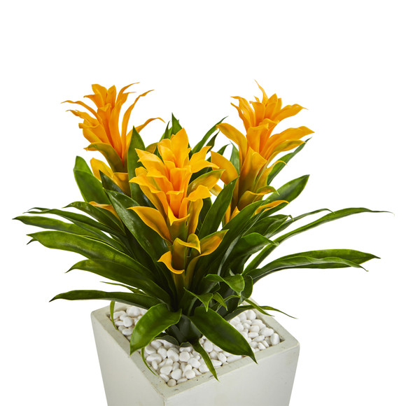 Triple Bromeliad Artificial Plant in White Tower Planter - SKU #6372 - 4