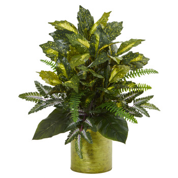 Mixed Greens in Green Tin Planter Artificial Plant - SKU #6375