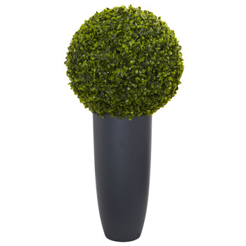 30 Boxwood Artificial Topiary Plant in Gray Cylinder Planter Indoor/Outdoor - SKU #6376