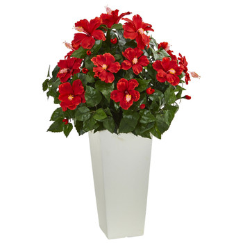 Hibiscus Artificial Plant in White Tower Planter - SKU #6379