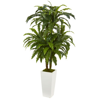Marginatum Artificial Plant in White Tower Vase - SKU #6380