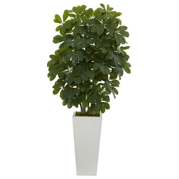 40 Schefflera Artificial Plant in White Vase Real Touch - SKU #6381