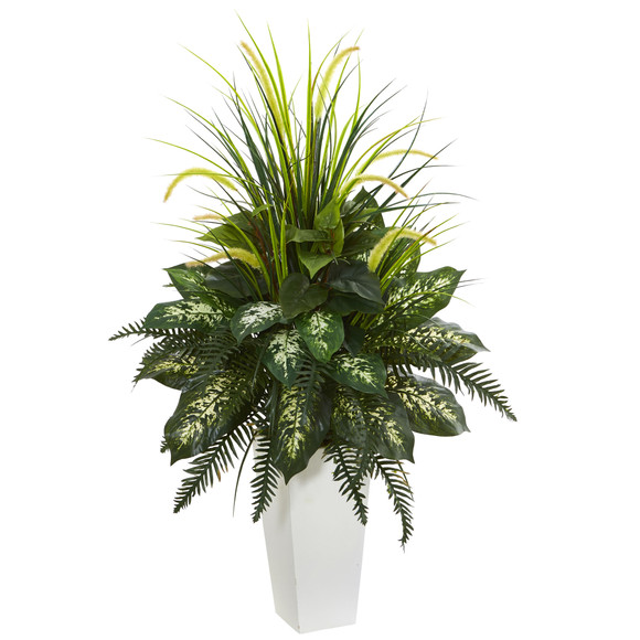 Mixed River Fern and Dogtail Artificial Plant in White Tower Planter - SKU #6382
