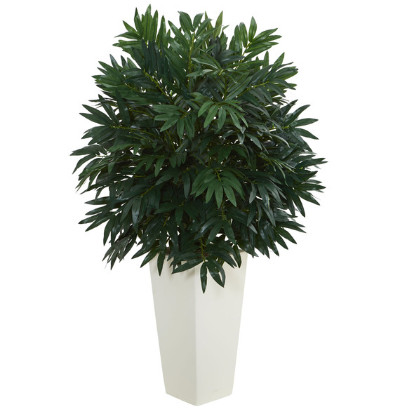 Double Bamboo Palm Artificial Plant in White Tower Vase - SKU #6384