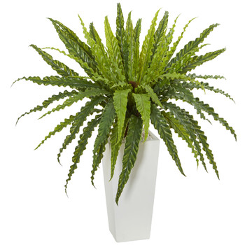 Rippled Birdsnest Artificial Plant on White Tower Planter - SKU #6385