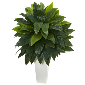 Cordyline Artificial Plant in White Tower Planter - SKU #6386