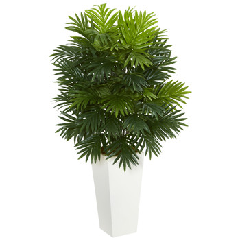 Areca Palm Artificial Plant in White Tower Planter - SKU #6387