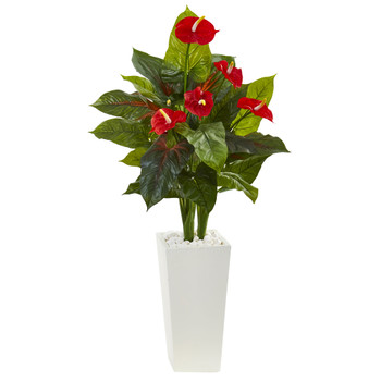 4.5 Anthurium Artificial Plant in White Tower Planter - SKU #6392