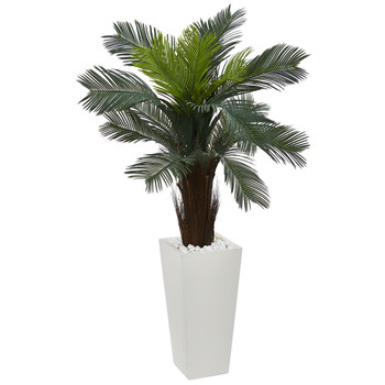 4.5 Cycas Artificial Plant in White Tower Planter - SKU #6393