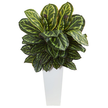 Maranta Artificial Plant in White Tower Vase - SKU #6398
