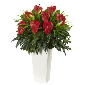 Mixed Anthurium Artificial Plant in White Tower Vase - SKU #6399