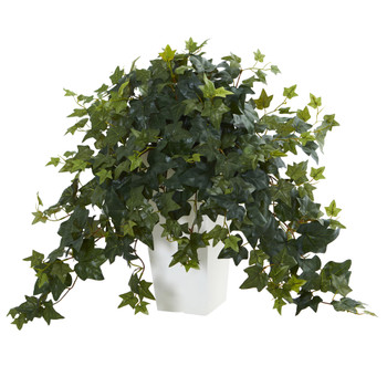 Puff Ivy Artificial Plant in White Tower Vase - SKU #6401