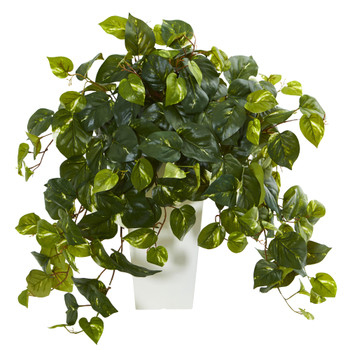Pothos Artificial Plant in White Tower Vase - SKU #6402