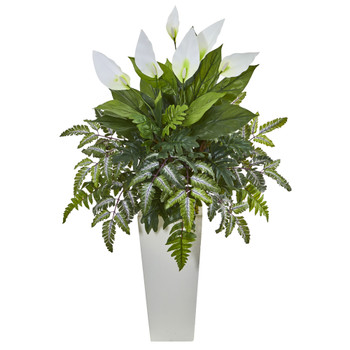 Mixed Spathifyllum Artificial Plant in White Tower Vase - SKU #6403