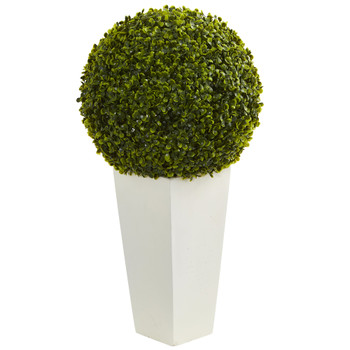 28 Boxwood Topiary Ball Artificial Plant in White Tower Planter Indoor/Outdoor - SKU #6404