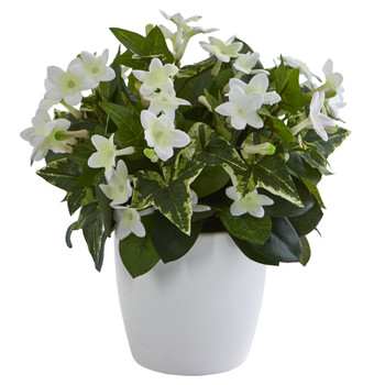 Stephanotis Artificial Plant in White Vase - SKU #6413