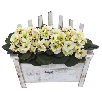 African Violet Artificial Plant in Wooden Bench Planter - SKU #6414-CP