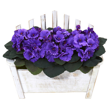 African Violet Artificial Plant in Wooden Bench Planter - SKU #6414-PP