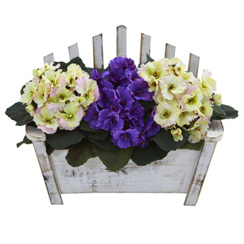 African Violet Artificial Plant in Wooden Bench Planter - SKU #6414