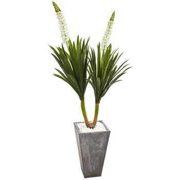 6 Yucca Artificial Plant in Cement Planter - SKU #6415