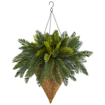 Cycas Hanging Basket Artificial Plant - SKU #6419