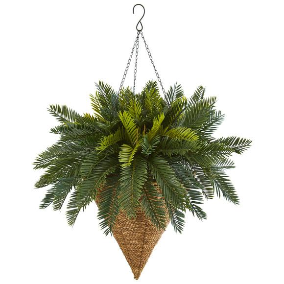 Cycas Hanging Basket Artificial Plant - SKU #6419