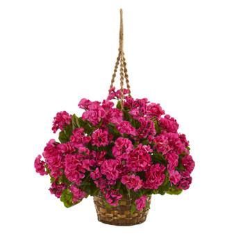19 Geranium Hanging Basket Artificial Plant UV Resistant Indoor/Outdoor - SKU #6421