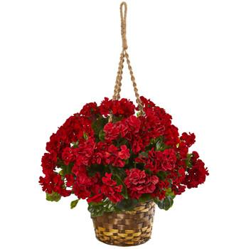 19 Geranium Hanging Basket Artificial Plant UV Resistant Indoor/Outdoor - SKU #6421-RD