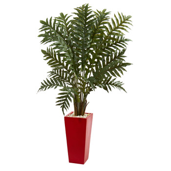 4.5 Evergreen Artificial Plant in Red Tower Vase - SKU #6425