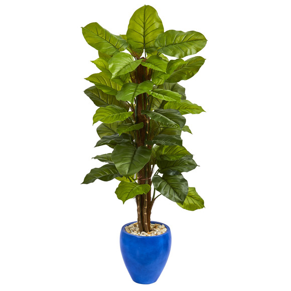 5 Large Leaf Philodendron Artificial Plant in Blue Planter Real Touch - SKU #6426