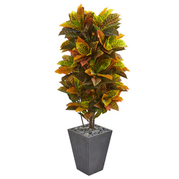 5.5 Croton Artificial Plant in Slate Planter Real Touch - SKU #6431