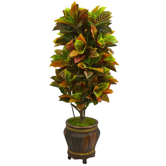 5.5 Croton Artificial Plant in Decorative Planter Real Touch - SKU #6434