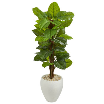 5 Large Leaf Philodendron Artificial Plant in White Oval Planter Real Touch - SKU #6438