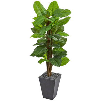 5 Large Leaf Philodendron Artificial Plant in Slate Planter Real Touch - SKU #6443