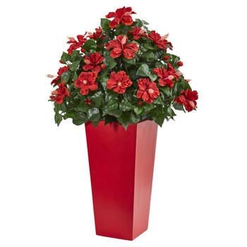 3 Hibiscus Artificial Plant in Red Planter - SKU #6445