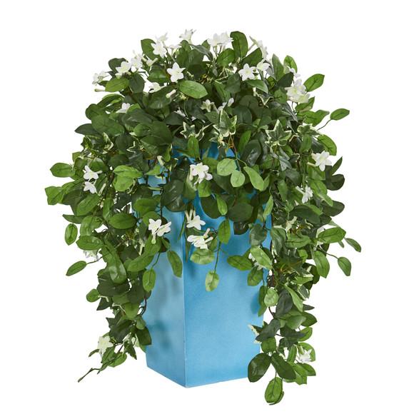 28 Stephanotis Artificial Plant in Turquoise Planter - SKU #6446
