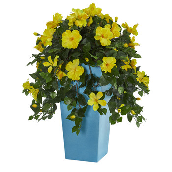 31 Hibiscus Artificial Plant in Turquoise Tower Vase - SKU #6449