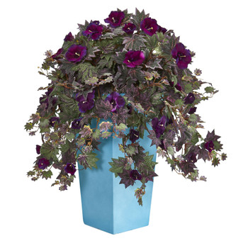 Morning Glory Artificial Plant in Turquoise Planter - SKU #6450