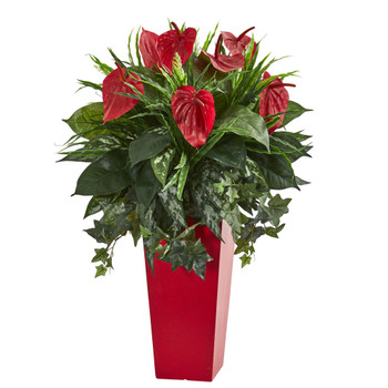 Mixed Anthurium Artificial Plant in Red Planter - SKU #6451