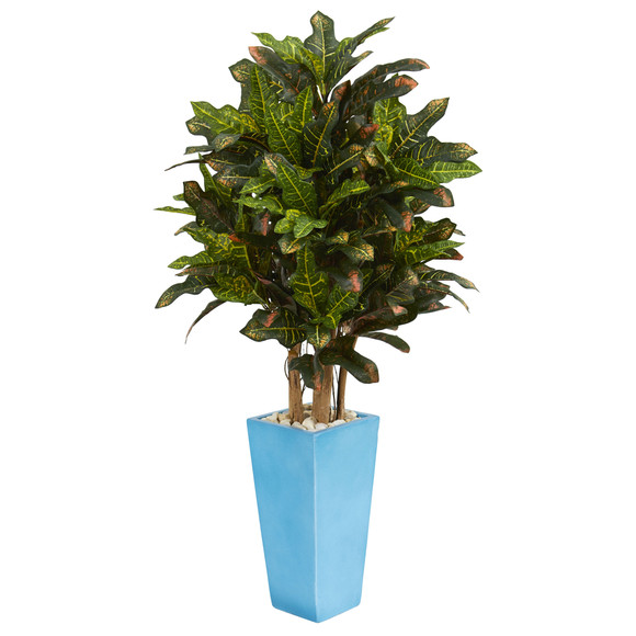 4 Croton Artificial Plant in Turquoise Planter - SKU #6453