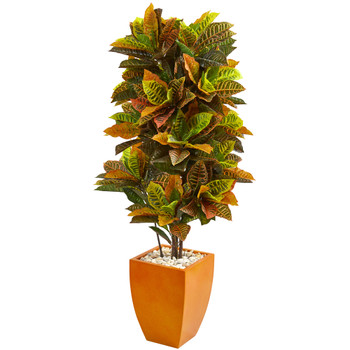 5.5 Croton Artificial Plant in Orange Planter Real Touch - SKU #6455
