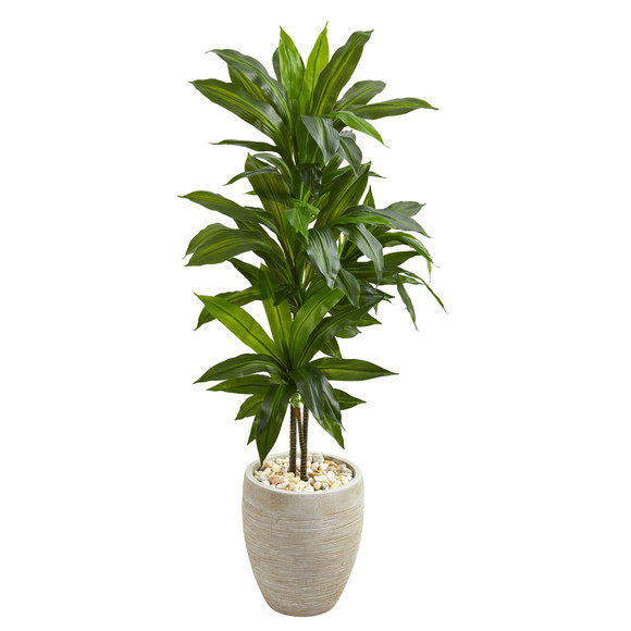 4 Dracaena Artificial Plant in Sand Colored Planter Real Touch - SKU #6456
