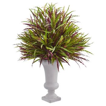 37 Burgundy Grass Artificial Plant in Elegant Urn - SKU #6458