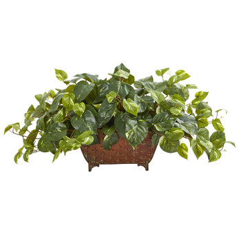 Pothos Artificial Plant in Metal Planter - SKU #6460