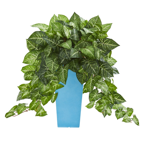 25 Nephtytis Artificial Plant in Turquoise Planter - SKU #6462