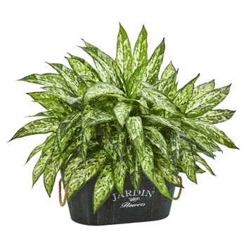 Aglonema Artificial Plant in Wood Planter - SKU #6463