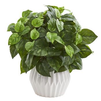 16 Pothos Artificial Plant in White Ceramic Vase - SKU #6466